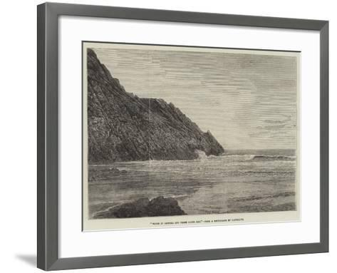 Waves in Caswell and Three Cliffs Bay--Framed Art Print