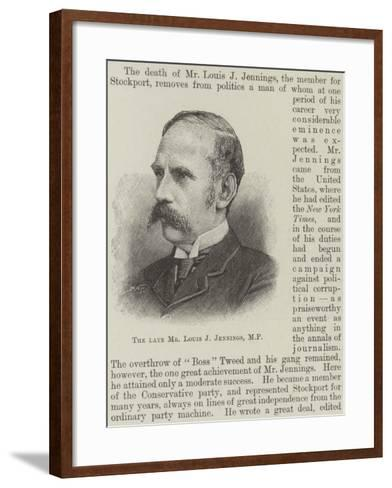 The Late Mr Louis J Jennings--Framed Art Print