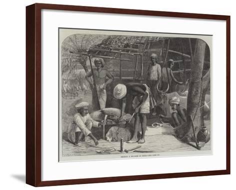 Shoeing a Bullock in India--Framed Art Print