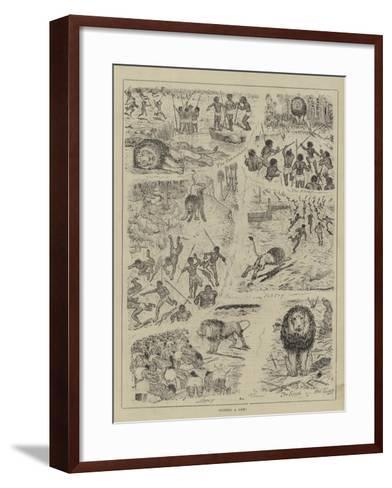 Hunting a Lion!--Framed Art Print