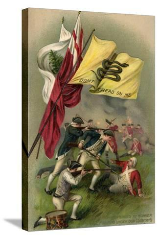 Battle of Bunker Hill with Gadsden Flag, 1899--Stretched Canvas Print