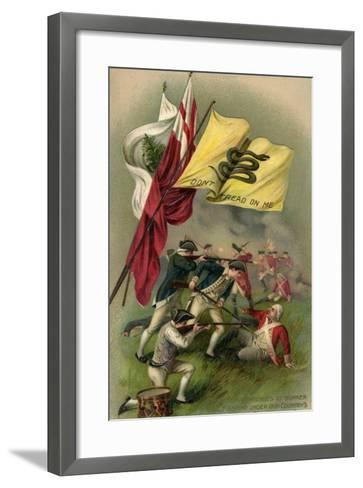 Battle of Bunker Hill with Gadsden Flag, 1899--Framed Art Print
