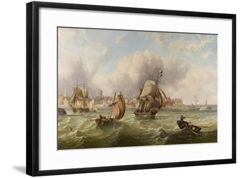 Shipping at the Mouth of Hartlepool Harbour--Framed Art Print