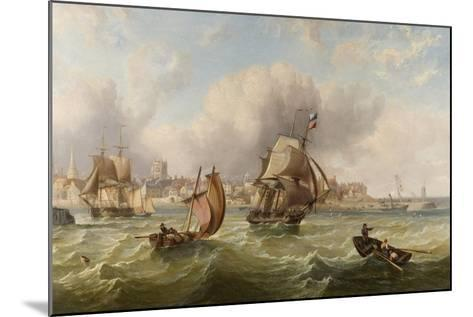 Shipping at the Mouth of Hartlepool Harbour--Mounted Giclee Print