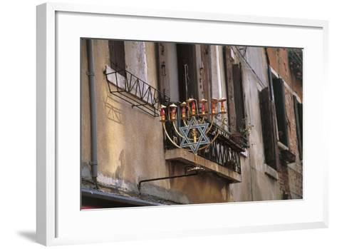 Low Angle View of a Jewish Symbol in a Ghetto, Venice, Veneto, Italy--Framed Art Print