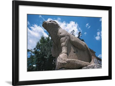 Low Angle View of an Ox Statue, Bue Apis, Benevento, Campania, Italy--Framed Art Print