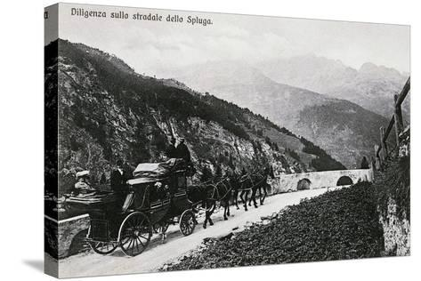 Stage Coach on Splugen Pass, Postcard, Lombardy, Italy, 20th Century--Stretched Canvas Print