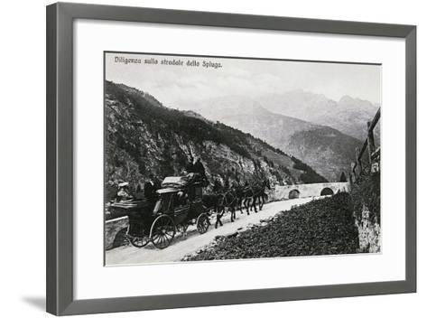 Stage Coach on Splugen Pass, Postcard, Lombardy, Italy, 20th Century--Framed Art Print
