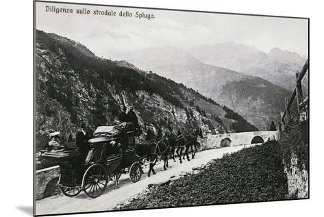 Stage Coach on Splugen Pass, Postcard, Lombardy, Italy, 20th Century--Mounted Giclee Print