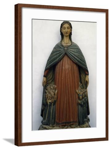 Virgin of Mercy, Polychrome Wood Statue, Italy, 15th Century--Framed Art Print