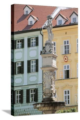 Fountain in Front of Buildings, Roland Fountain, Bratislava, Slovakia--Stretched Canvas Print