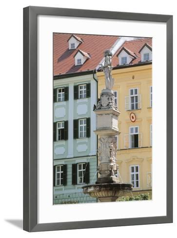 Fountain in Front of Buildings, Roland Fountain, Bratislava, Slovakia--Framed Art Print