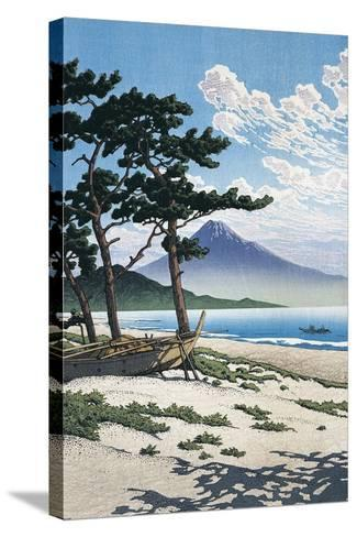 Pine Trees on the Beach with Mt Fuji in the Background, Japan--Stretched Canvas Print