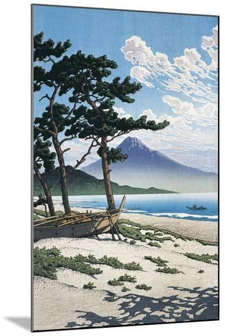 Pine Trees on the Beach with Mt Fuji in the Background, Japan--Mounted Giclee Print