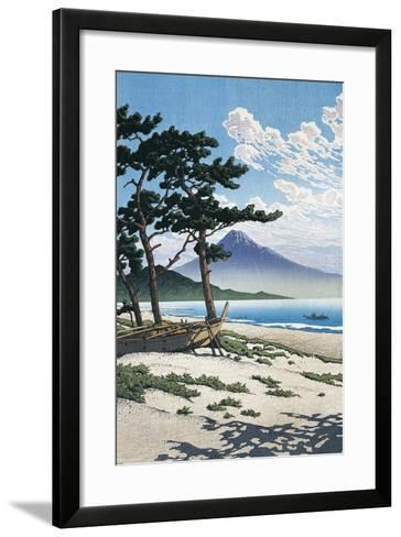 Pine Trees on the Beach with Mt Fuji in the Background, Japan--Framed Art Print