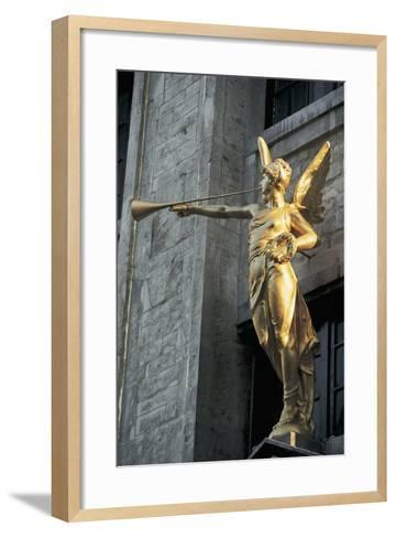 Low Angle View of a Statue, Grand Place, Brussels, Belgium--Framed Art Print