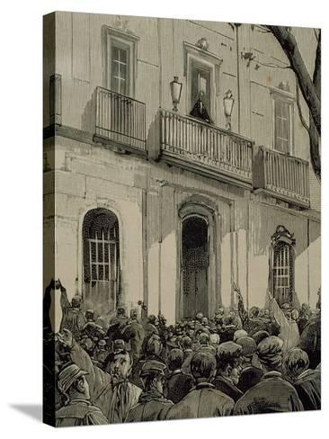 Spain, Barcelona, Working Demonstration--Stretched Canvas Print