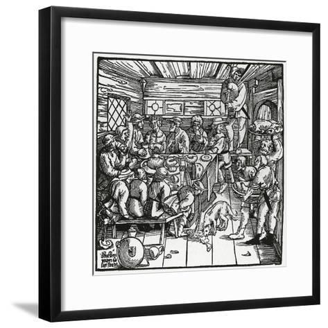 Farmers Feast, Woodcut, Germany, 16th Century--Framed Art Print