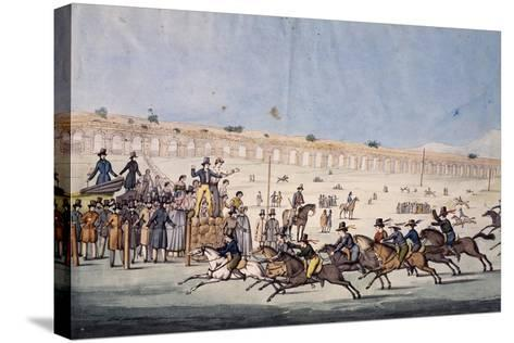 Horse Racing at Capannelle in Rome, Italy, 19th Century--Stretched Canvas Print