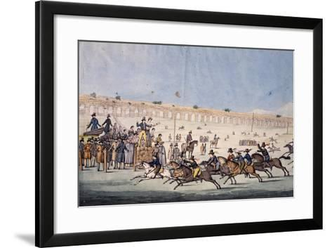Horse Racing at Capannelle in Rome, Italy, 19th Century--Framed Art Print