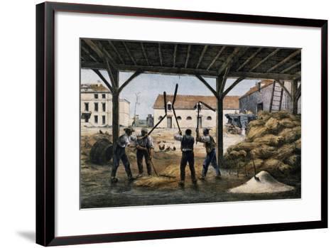 Threshing Wheat, France, 19th Century--Framed Art Print