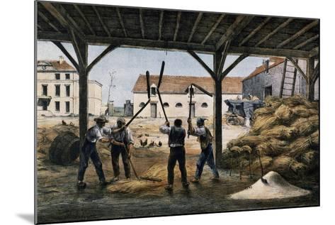 Threshing Wheat, France, 19th Century--Mounted Giclee Print