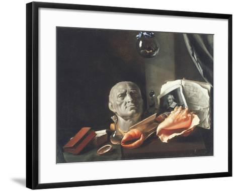 Vanitas Still Life with a Bust, Seashells, Books and Glass Flasks--Framed Art Print