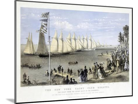 The New York Yacht Club Regatta, Pub. Currier and Ives, 1869--Mounted Giclee Print