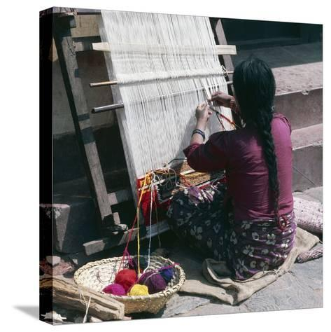 Woman Working on Loom Weaving Rug, Pokhara, Nepal--Stretched Canvas Print