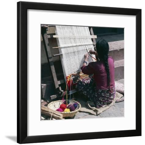 Woman Working on Loom Weaving Rug, Pokhara, Nepal--Framed Art Print