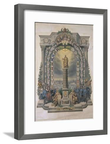 Group of Army Soldiers at a Monument, Austria--Framed Art Print