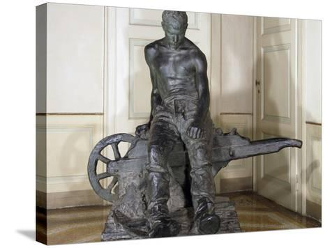 Miner, 1888, by Enrico Butti (1847-1932), Bronze, Italy, 20th Century--Stretched Canvas Print