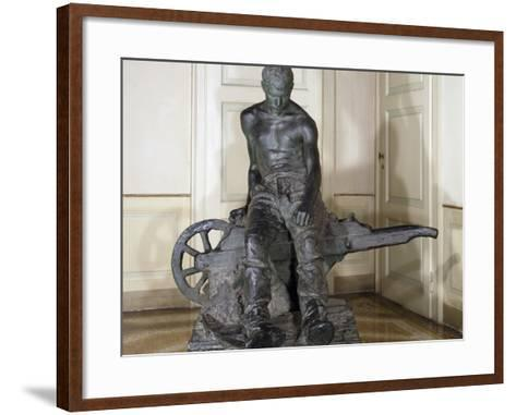 Miner, 1888, by Enrico Butti (1847-1932), Bronze, Italy, 20th Century--Framed Art Print