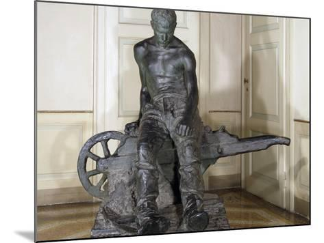 Miner, 1888, by Enrico Butti (1847-1932), Bronze, Italy, 20th Century--Mounted Giclee Print