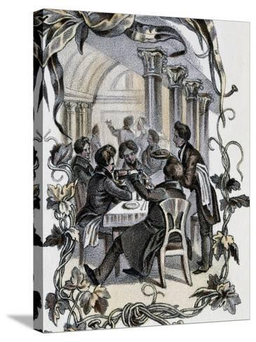 Male Characters Sitting at Table, Austria, 19th Century--Stretched Canvas Print