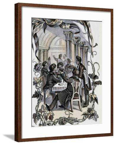Male Characters Sitting at Table, Austria, 19th Century--Framed Art Print