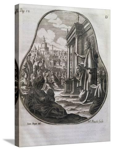 San Romedius Preaching to Crowds of Rome, Italy, 17th Century--Stretched Canvas Print