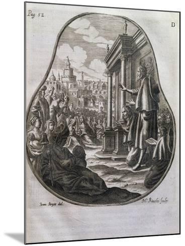 San Romedius Preaching to Crowds of Rome, Italy, 17th Century--Mounted Giclee Print