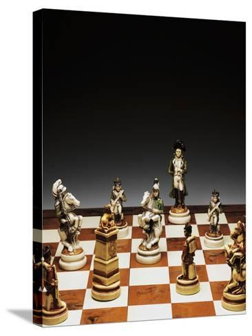 Chessboard with Chess Pieces, Chess, 20th Century--Stretched Canvas Print