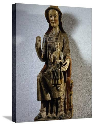 Madonna with Child, Polychrome Wood Statue, Spain, 13th Century--Stretched Canvas Print