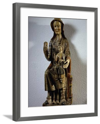 Madonna with Child, Polychrome Wood Statue, Spain, 13th Century--Framed Art Print