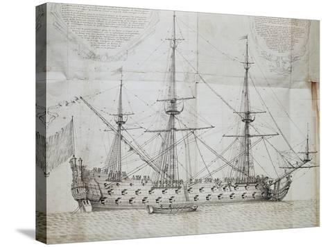 Ship at Anchor, from Atlas De Colbert, France, 17th Century--Stretched Canvas Print