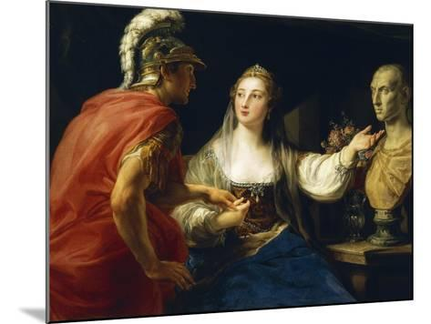 Cleopatra before Augustus or Cleopatra Showing Octavius Bust of Julius Caesar, 1760-1770--Mounted Giclee Print