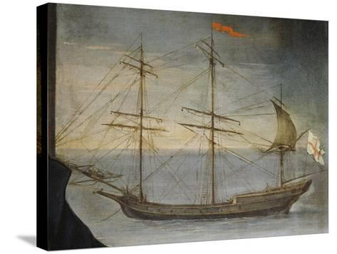 Xebec with Poplar Frame from Genoese Navy, Detail from Portrait of Captain De Andreis--Stretched Canvas Print