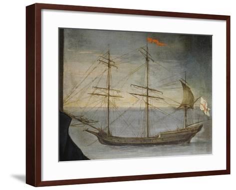 Xebec with Poplar Frame from Genoese Navy, Detail from Portrait of Captain De Andreis--Framed Art Print