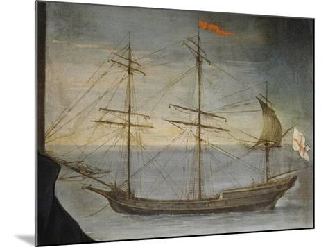Xebec with Poplar Frame from Genoese Navy, Detail from Portrait of Captain De Andreis--Mounted Giclee Print