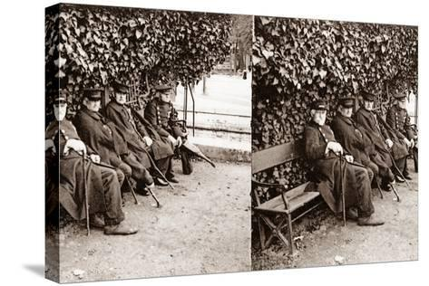 Stereoscopic View of Invalids in a Square, Paris, 1890--Stretched Canvas Print