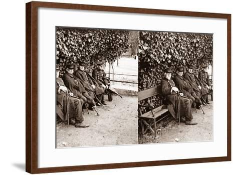 Stereoscopic View of Invalids in a Square, Paris, 1890--Framed Art Print