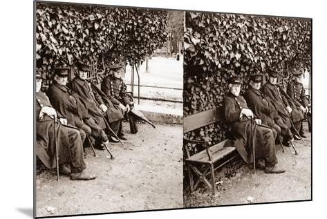 Stereoscopic View of Invalids in a Square, Paris, 1890--Mounted Photographic Print