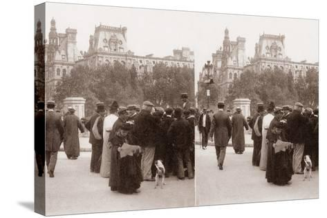 Stereoscopic View of the Pont D'Arcole, Paris, 1890--Stretched Canvas Print
